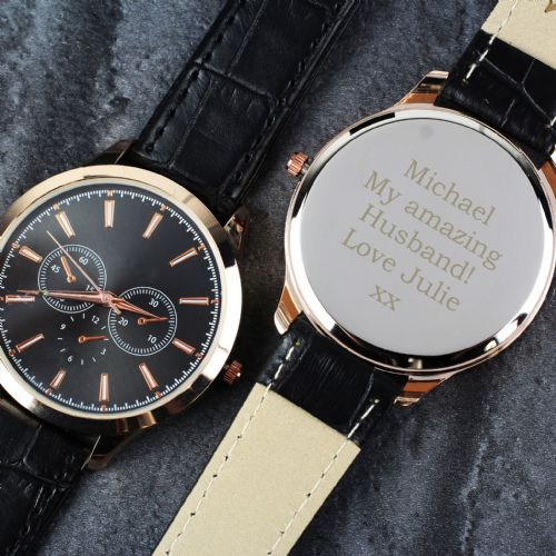 Personalised Mens Rose Gold Watch with Black Strap